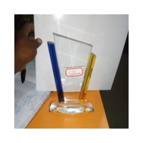 Blue & Yellow Crystal Plaque By Excellence Awards International