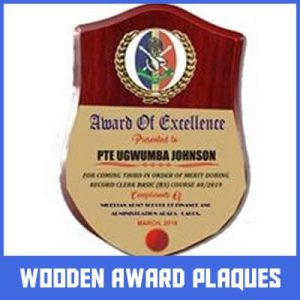 wooden awards plaques in lagos by Excellence Awards International