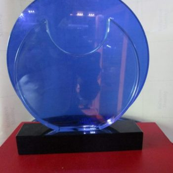 All Round blue Crystal Plaque By Excellence Awards International