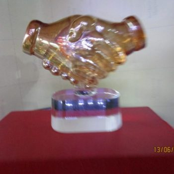 Handshake Crystal Plaque By Excellence Awards International